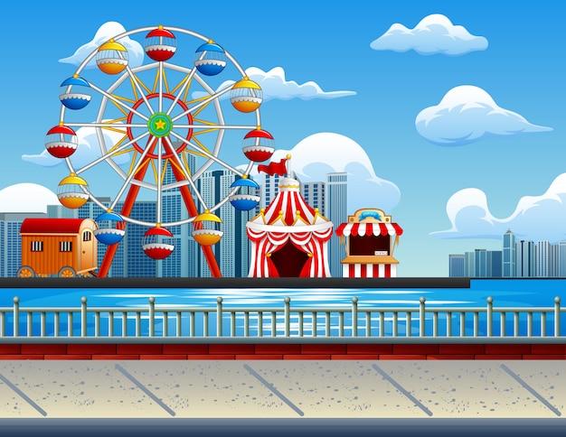 Illustration du parc d'attractions Vecteur Premium