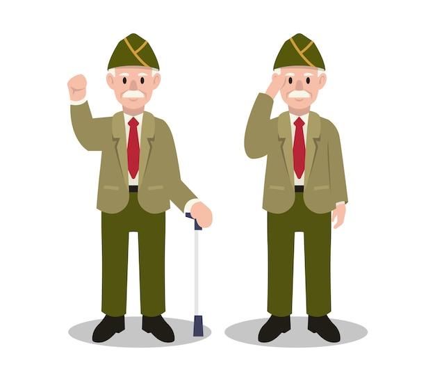 Illustration Du Personnage De L'armée Du Jour Des Vétérans Vecteur Premium