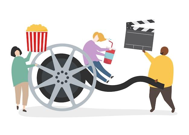 Illustration du personnage avec une bobine de film Vecteur gratuit