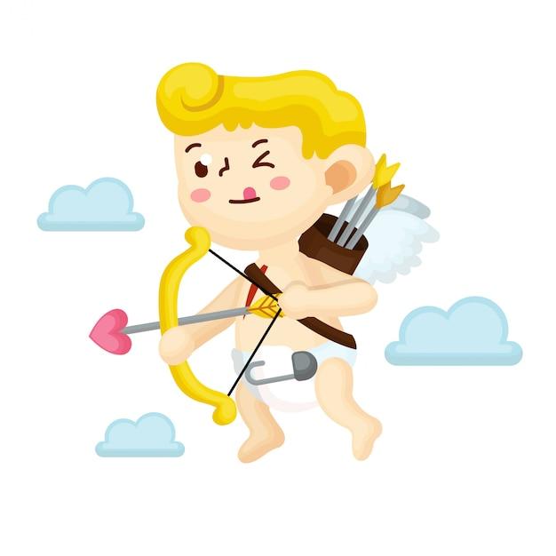 Illustration du personnage de cupidon avec style plat Vecteur Premium