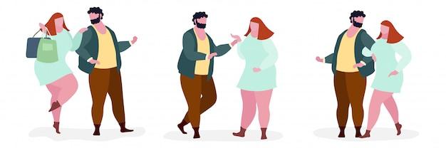 Illustration du personnage gros couple Vecteur Premium