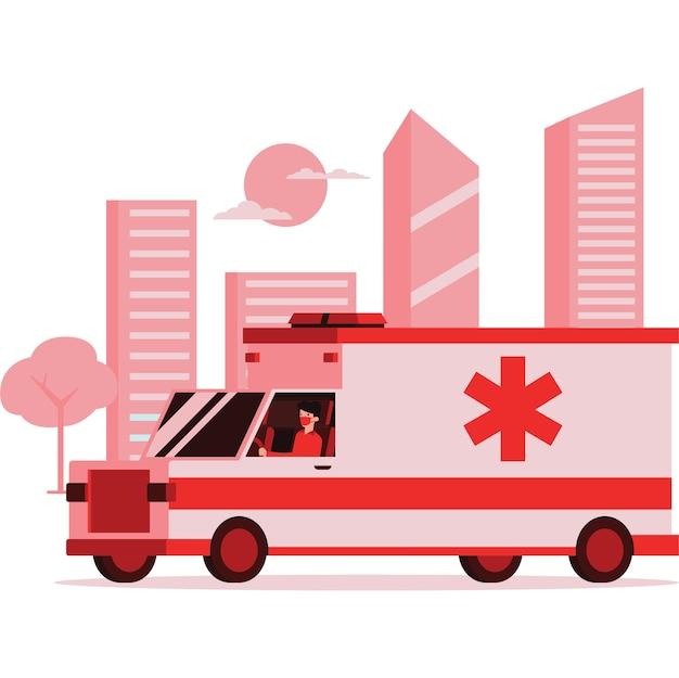 Illustration Du Personnel Médical Monté Sur Une Ambulance Sur La Route Vecteur Premium