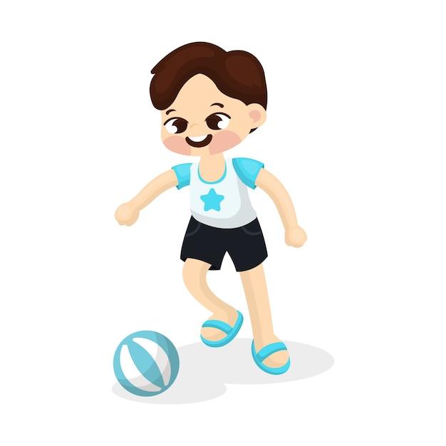 Illustration Du Petit Garçon Jouant Au Football Avec Style De Bande Dessinée Vecteur Premium