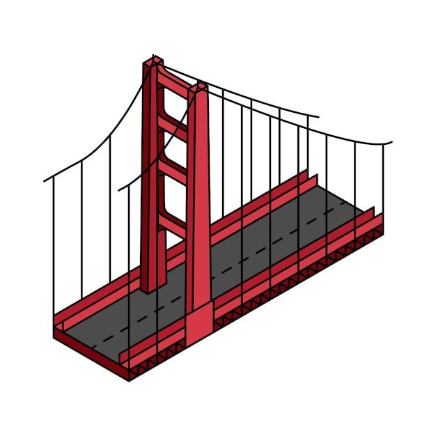 Illustration du pont golden gate san francisco aux etats-unis Vecteur gratuit