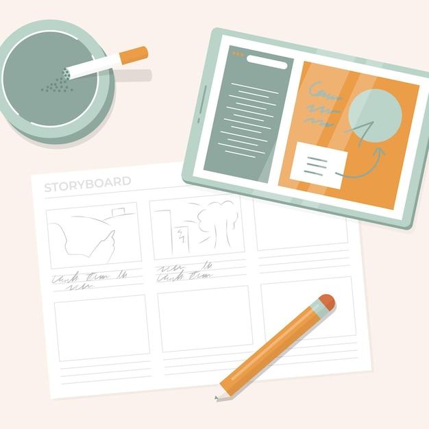 Illustration Du Processus De Storyboard Vecteur Premium
