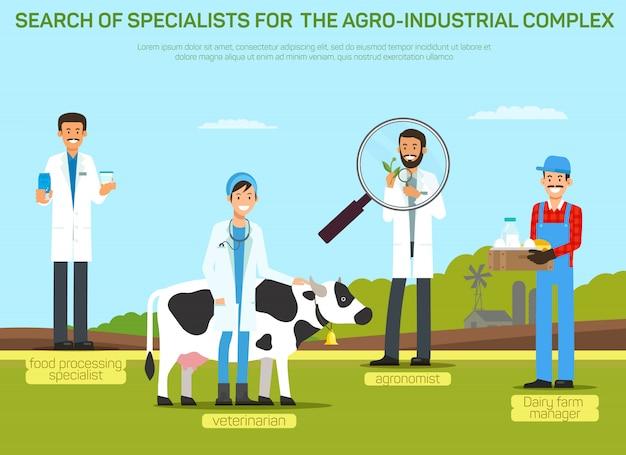 Illustration du recrutement de travailleurs de l'industrie agroalimentaire Vecteur Premium