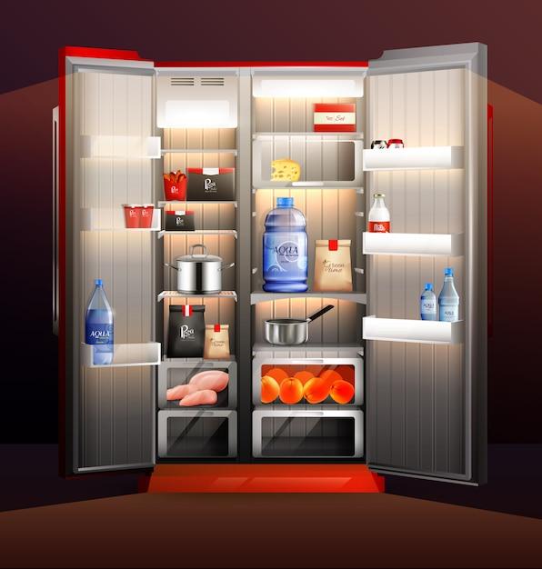 Illustration du réfrigérateur ouvert rougeoyant Vecteur gratuit