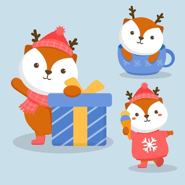 Illustration Du Renard De Caractère Animal Avec Boîte-cadeau Vecteur gratuit