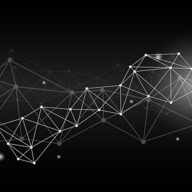 Illustration du réseau de neurones noir Vecteur gratuit