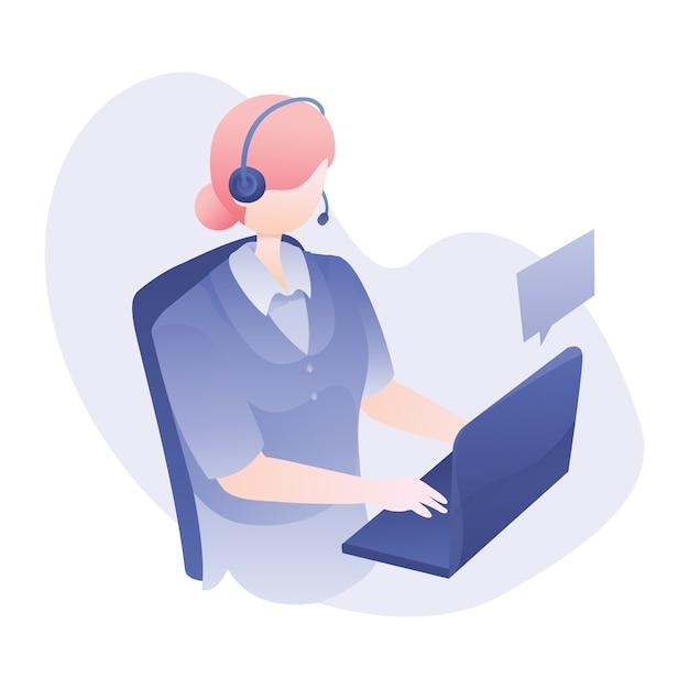 Illustration du service clientèle avec un casque d'usure pour femme et conversation avec un client via un ordinateur portable Vecteur Premium