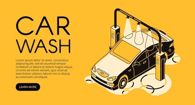 Illustration du service de lavage de voiture d'une station de nettoyage automobile. Vecteur gratuit