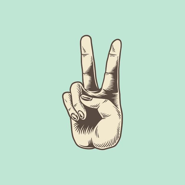 Illustration du signe de la main de la victoire Vecteur gratuit