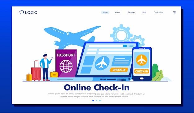 Illustration Du Site Web De La Page D'arrivée De L'enregistrement En Ligne Vecteur Premium
