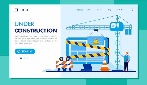 Illustration du site web de la page d'atterrissage en construction Vecteur Premium