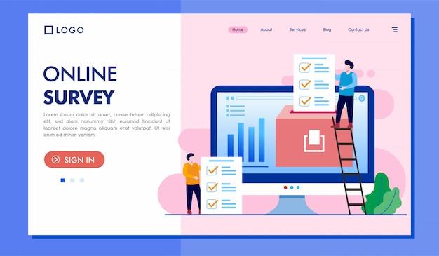 Illustration du site web de la page de destination de l'enquête en ligne Vecteur Premium