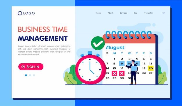 Illustration du site web de la page de destination de la gestion de temps métier Vecteur Premium