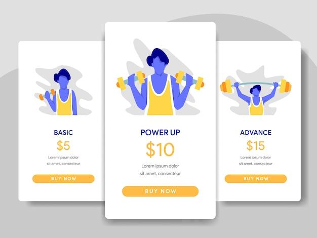 Illustration du tableau comparatif des prix avec le concept de culturisme Vecteur Premium