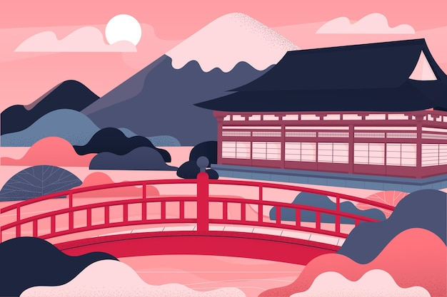 Illustration Du Temple De L'architecture Japonaise Dégradée Vecteur gratuit