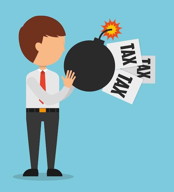 Illustration du temps des impôts, homme avec papiers d'impôts et bombe Vecteur gratuit