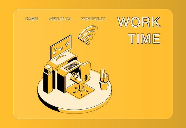 Illustration du temps de travail et du lieu de travail Vecteur gratuit