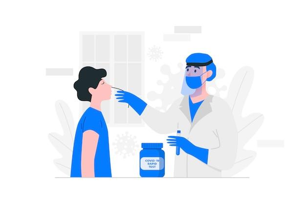 Illustration Du Test D'écouvillonnage Nasal Vecteur Premium
