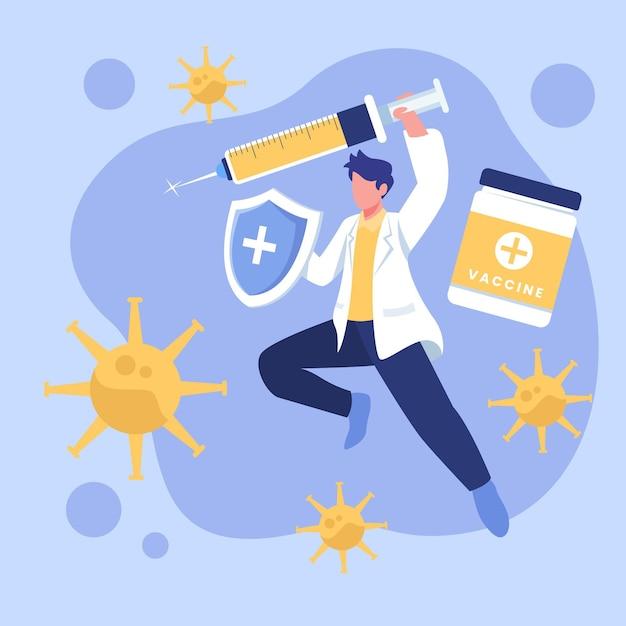 Illustration Du Vaccin Contre Le Coronavirus Dessiné à La Main Vecteur gratuit