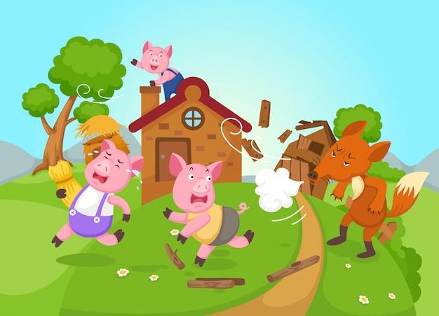 Illustration du vecteur de conte de fées isolé trois petits cochons Vecteur Premium