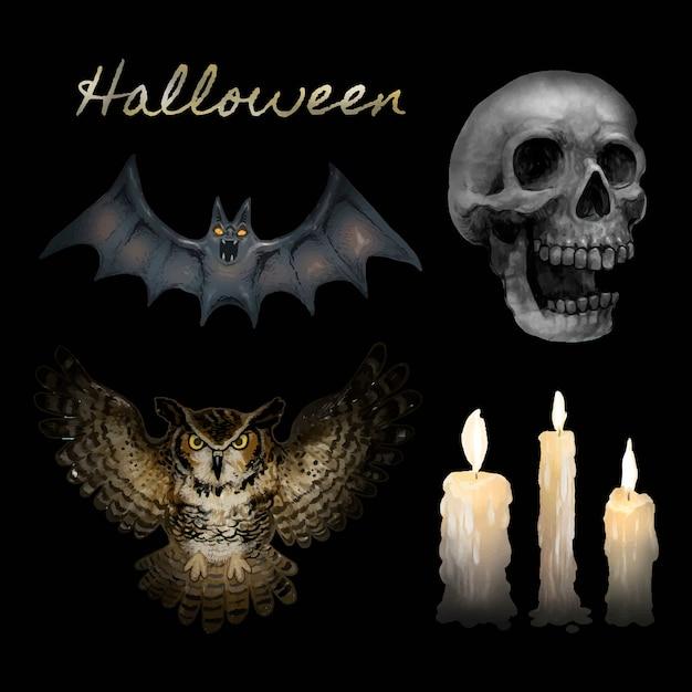 Illustration du vecteur d'icônes happy halloween Vecteur gratuit
