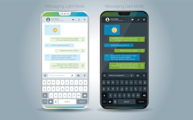 Illustration du vecteur d'interface utilisateur clair et foncé de l'application mobile de messagerie Vecteur Premium