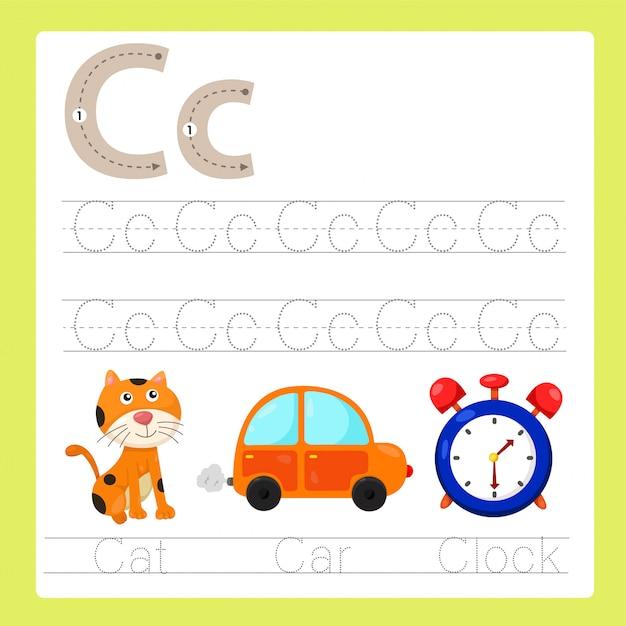 Illustration du vocabulaire de dessin animé az de l'exercice c Vecteur Premium