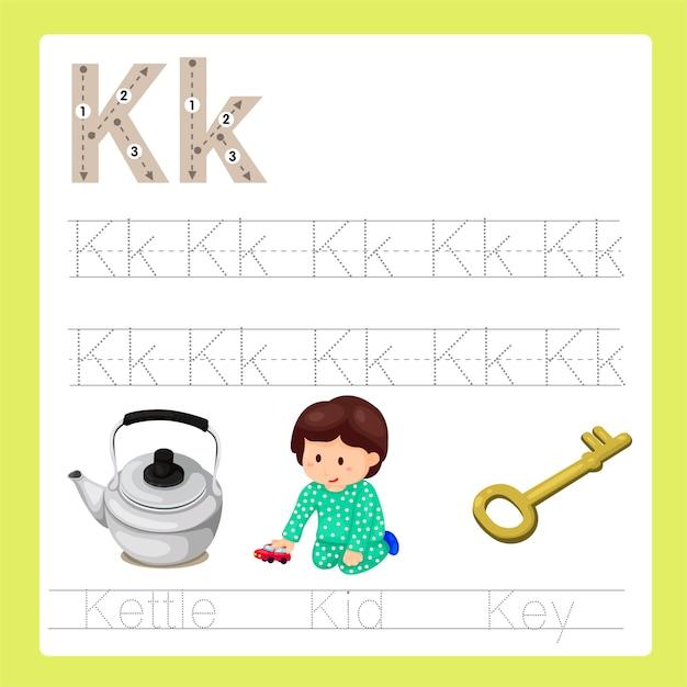 Illustration du vocabulaire de dessin animé k exercice az Vecteur Premium