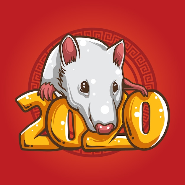 Illustration Du Zodiaque Rat Blanc Vecteur Premium