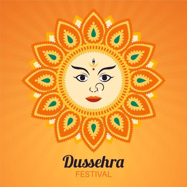 Illustration De Dussehra Dessinée à La Main Vecteur Premium