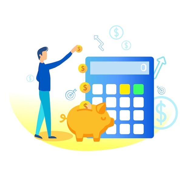 Illustration d'économies dans la tirelire plate. Vecteur Premium