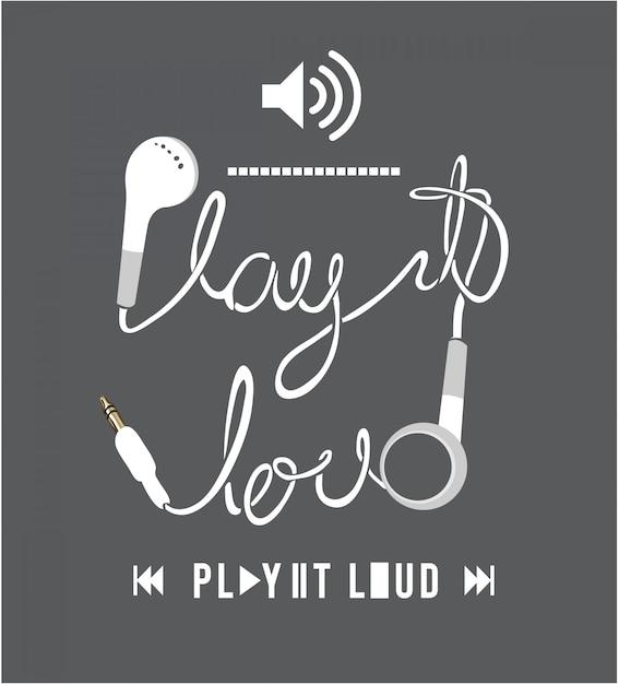 Illustration de l'écouteur avec le slogan Vecteur Premium