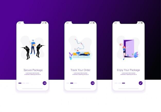 Illustration De L'écran D'accueil Pour Le Commerce électronique Ou L'expédition Vecteur Premium