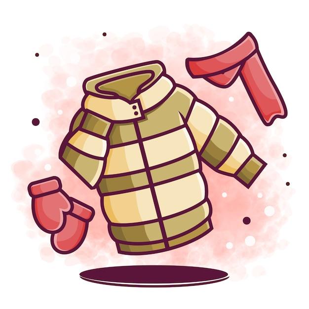 Illustration D'élément De Conception De Vêtements D'hiver Mignon (veste, écharpe, Gants) Vecteur Premium