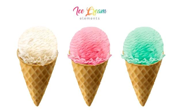 Illustration D'éléments Colorés De Cônes De Crème Glacée Vecteur Premium