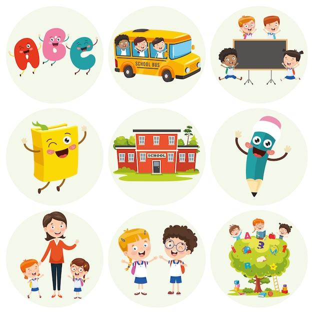 Illustration d'éléments d'éducation Vecteur Premium