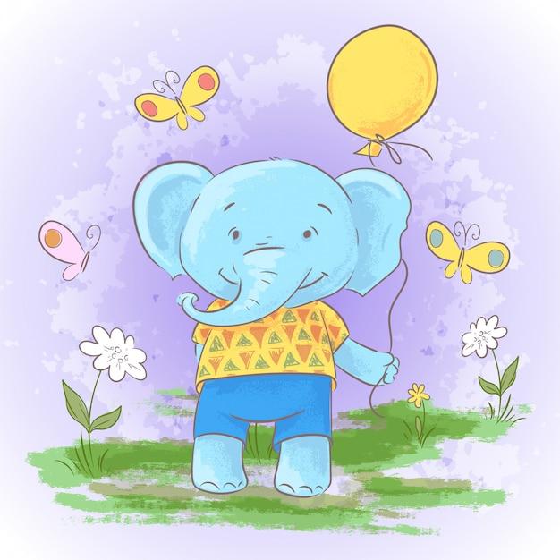 Illustration d'éléphant de bébé dessin animé mignon avec un ballon. Vecteur Premium