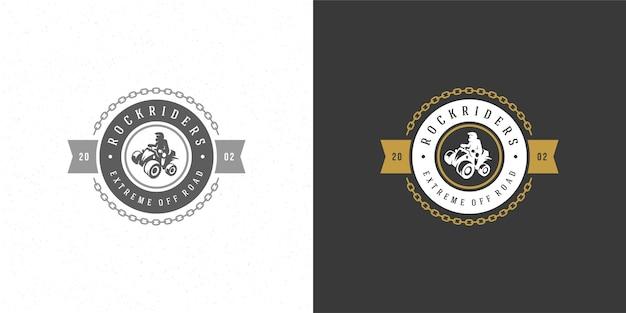 Illustration De L'emblème Du Logo Atv Expédition Hors Route Des Montagnes Vecteur Premium