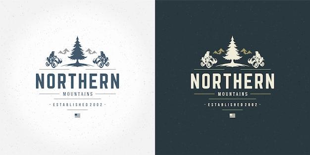 Illustration De L'emblème Du Logo Atv Hors Route Des Montagnes Ensemble D'expédition Vecteur Premium