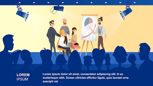Illustration d'une émission de télévision sur les affaires Vecteur Premium