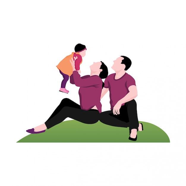 Illustration de l'enfant et du parent Vecteur Premium