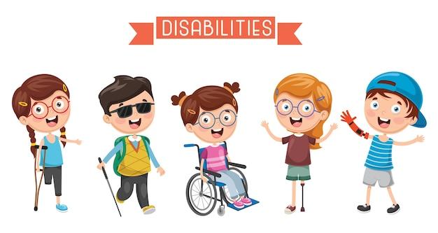 Illustration de l'enfant handicapé Vecteur Premium