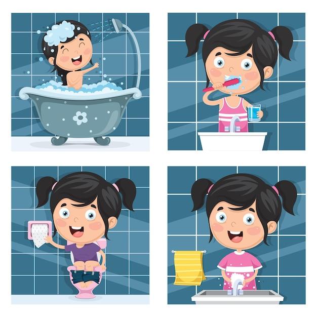 Illustration de l'enfant se baigner, se brosser les dents, se laver les mains après les toilettes Vecteur Premium