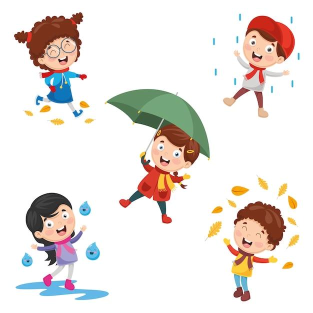 Illustration des enfants d'automne Vecteur Premium