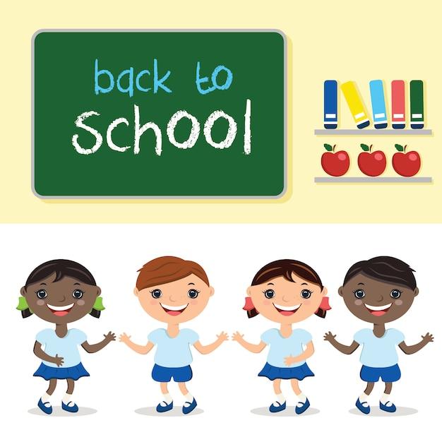Illustration enfants en classe, avec le conseil scolaire. avec le texte de retour à l'école. Vecteur Premium