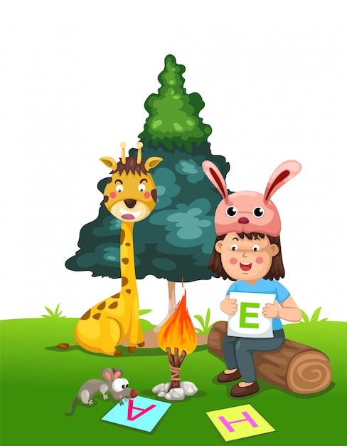 Illustration d'enfants isolés faisant leurs devoirs Vecteur Premium