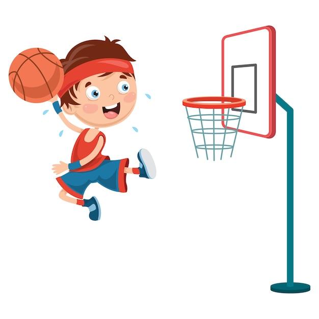 Illustration des enfants jouant au basketball Vecteur Premium